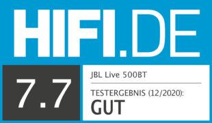 HIFI.DE Testsiegel für JBL Live 500BT
