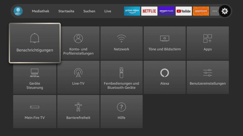 Einstellungsmöglichkeiten des Fire TV Stick.