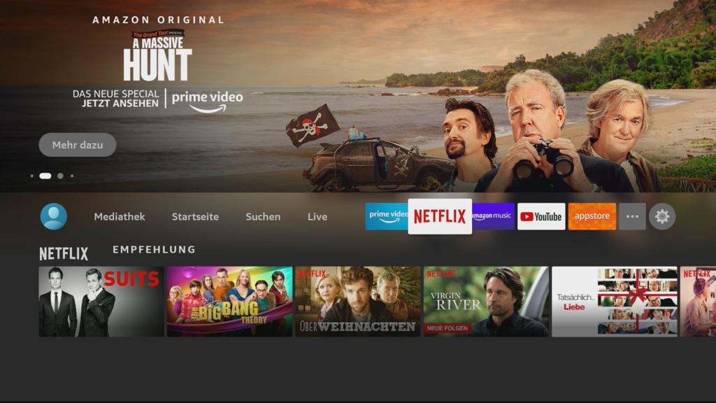 Die Netflix-Empfehlungen auf dem Fire TV Stick.