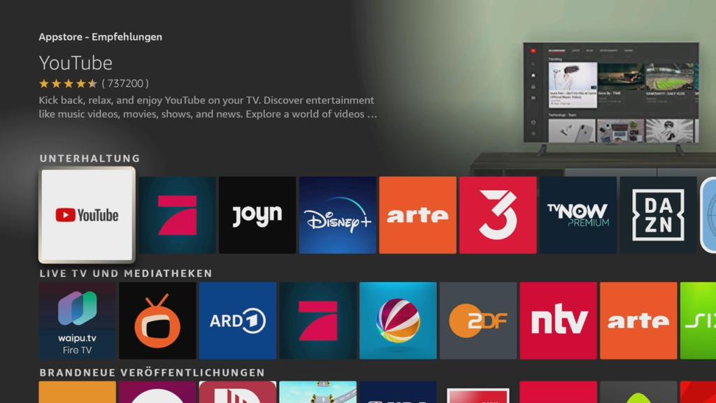 App-Store auf dem Fire Tv Stick.