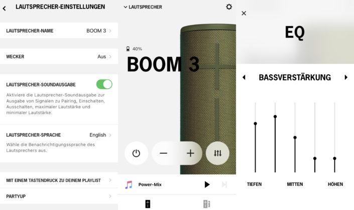 UE Boom 3 App Screenshots