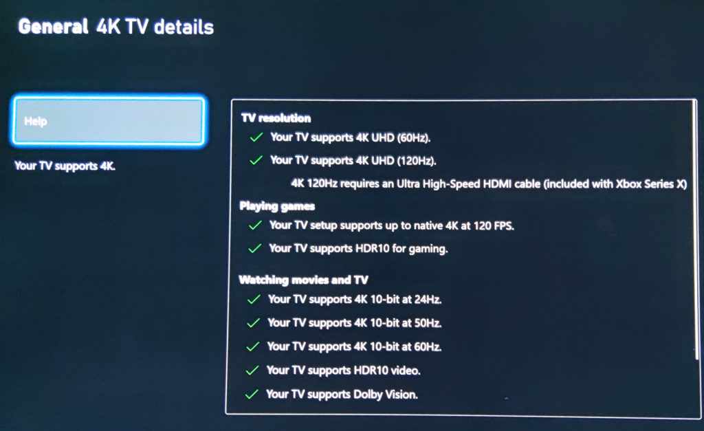 Die Xbox Series X erkennt korrekt die Features unseres LG E9.
