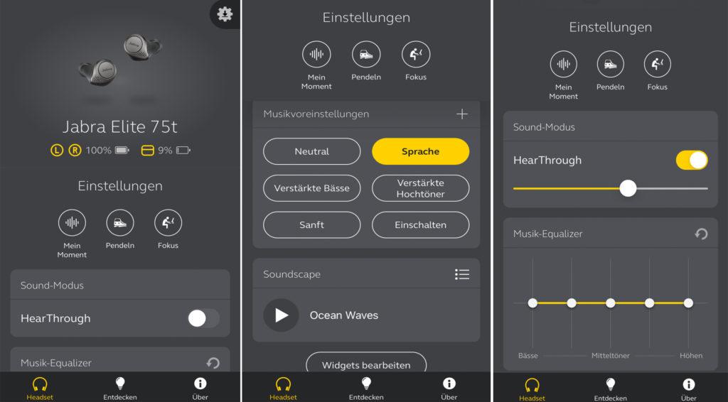 Die Jabra Elite 75t-App