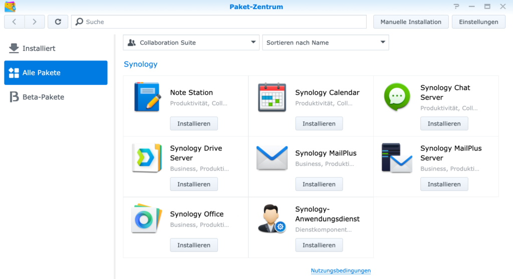 Synology DS220+ Apps Pakete