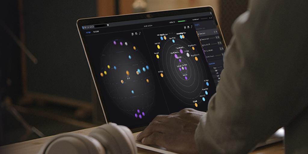 Ein Bildschirm, der viele bunte Punkte zeigt, wahrscheinlich ein Screen der 360 Reality Audio Creative Suite.