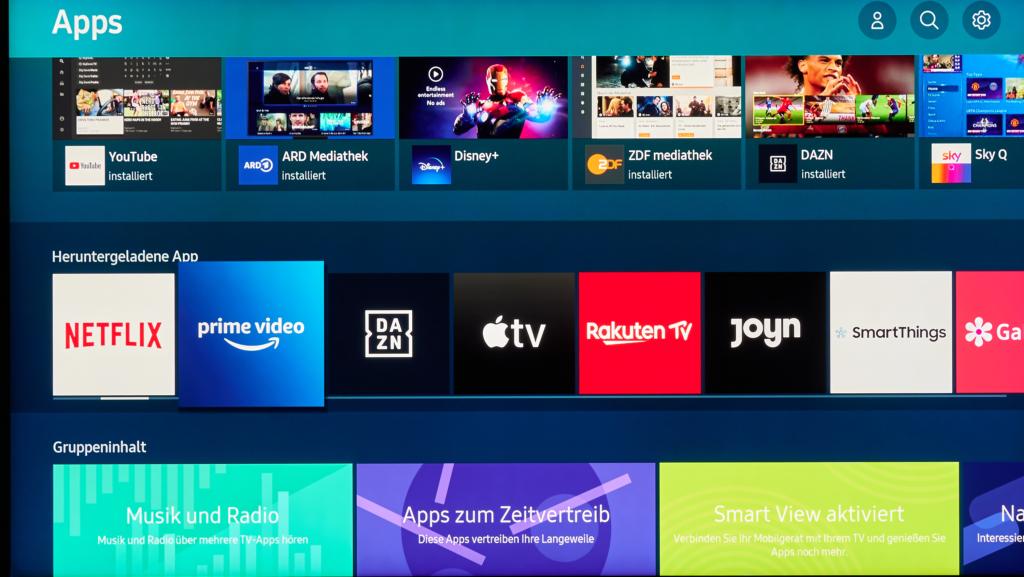 Samsung Q950T - App-Auswahl und Smart-TV