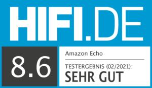 Amazon Echo Testsiegel 8,6 Sehr gut