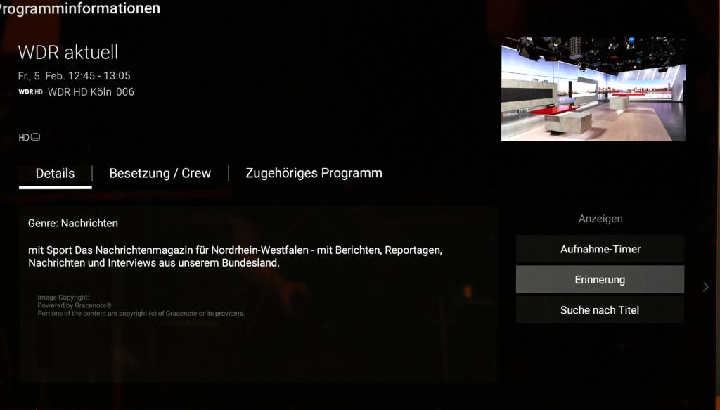 Sony OLED A9 EPG Info