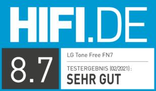 HIFI.DE Testsiegel für LG Tone Free FN7