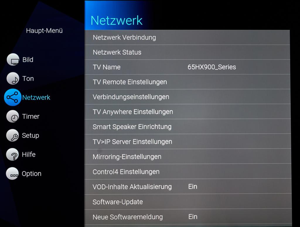 HXW904 Netzwerk-Menü