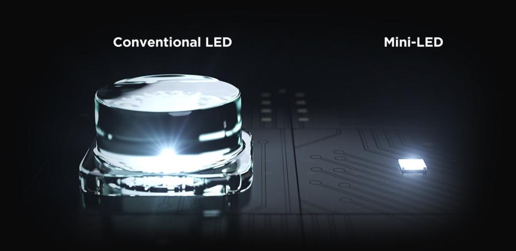 Hier sind konventionelle LEDs und Mini LEDs im Größenvergleich zu sehen.