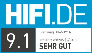 HIFI.DE Testsiegel für Samsung QN95A im Test: Mini-LED legt die Bild-Messlatte höher