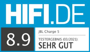 HIFI.DE Testsiegel für JBL Charge 5 im Test: Der Marktführer wird nochmal besser!