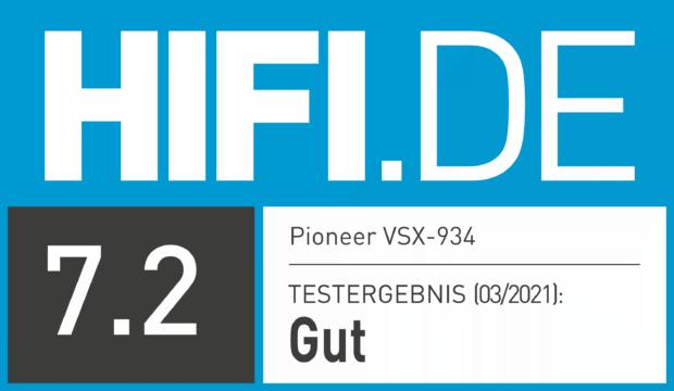 HIFI.DE Testsiegel für Pioneer VSX-934