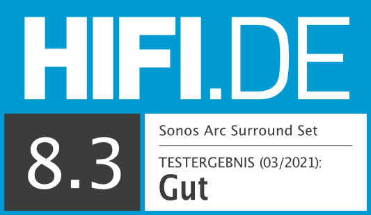 HIFI.DE Testsiegel für Surround Set Sonos Arc, Sub & One