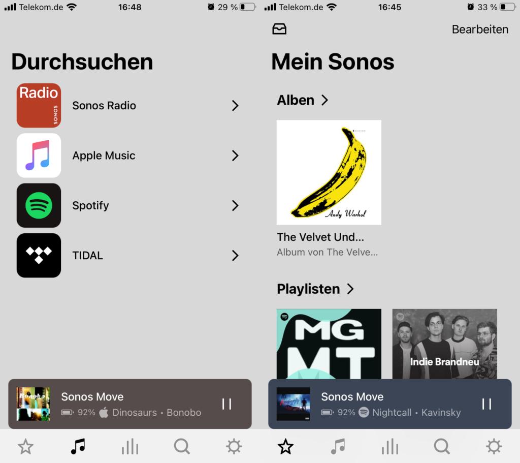 Sonos App Durchsuchen Seite und Mein Sonos