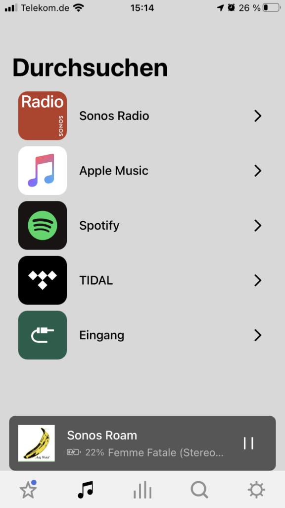 Sonos App Streaming Dienste