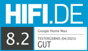 Google Home Max Testsiegel 8,2 Gut
