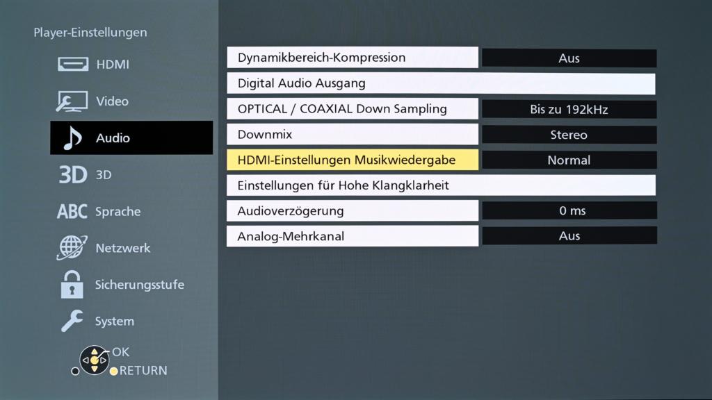 HDMI Ton-Einstellungen des DP-B9004