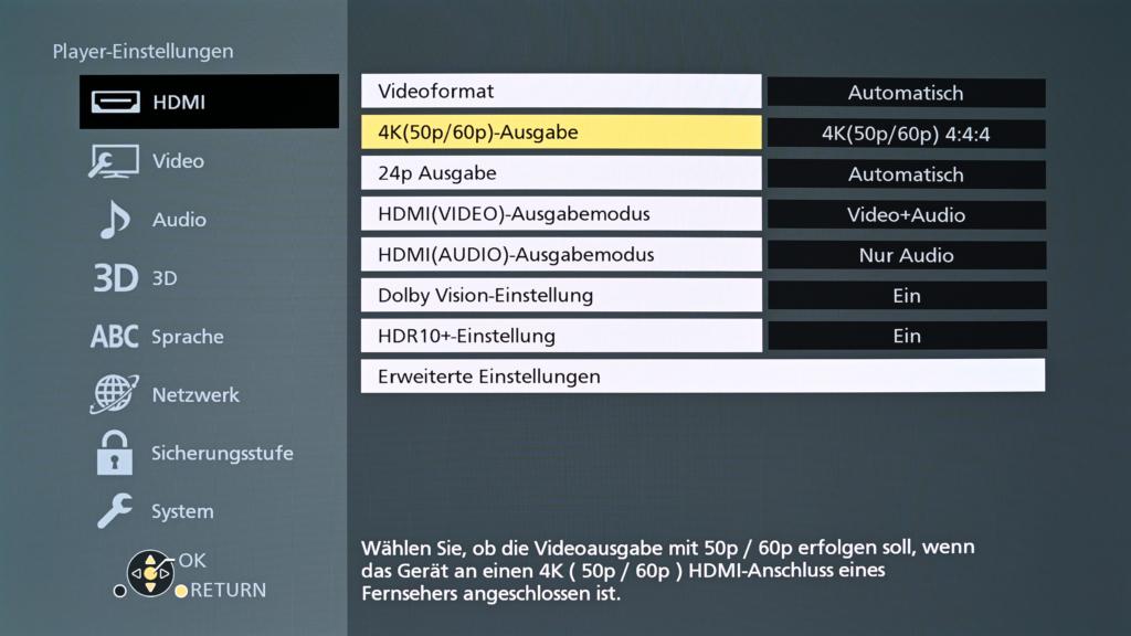 HDMI-Video-Einstellungen