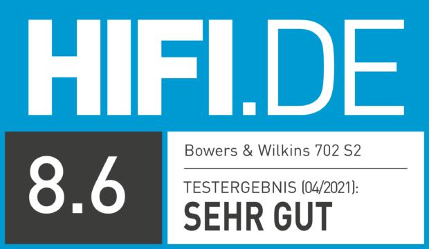 HIFI.DE Testsiegel für Bowers & Wilkins 702 S2