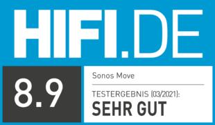 HIFI.DE Testsiegel für Sonos Move im Test: Multiroom-Speaker mit Akku und gutem Klang
