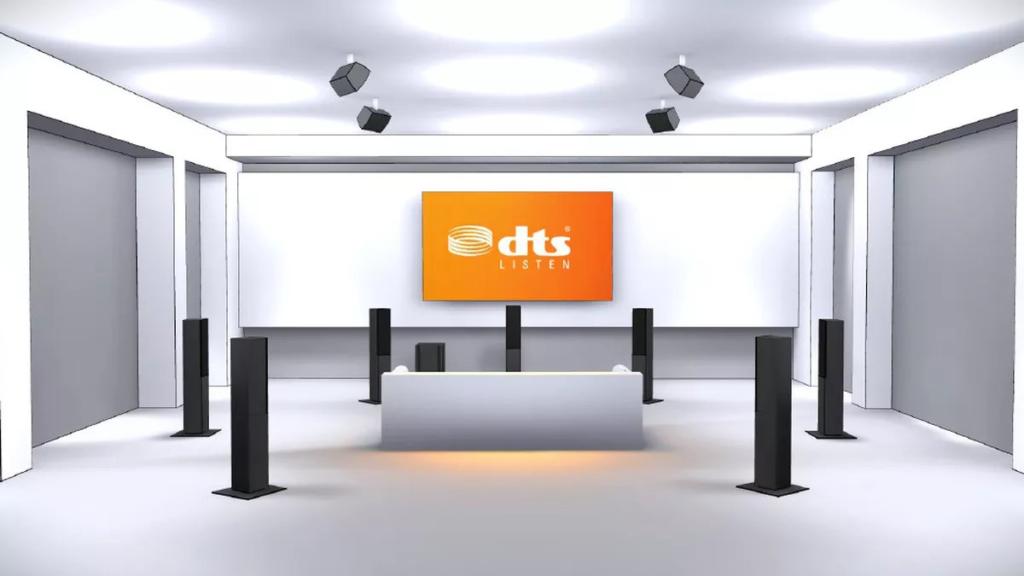 Ein DTS:X-Set-up mit vier Deckenlautsprechern im Aufbau: 7.1.4.