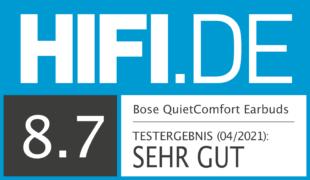 HIFI.DE Testsiegel für Bose QuietComfort Earbuds im Test: Starkes ANC und komfortable Bedienung