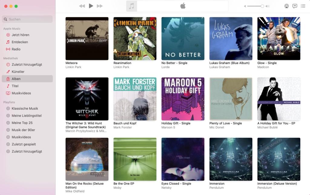 Apple iTunes Anzeige der Alben