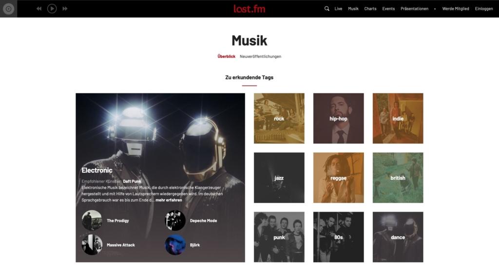 Last.fm Webseite Musik kostenlos herunterladen