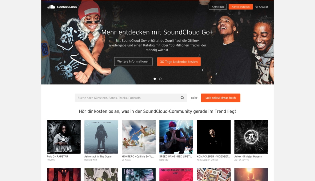 SoundCloud Streaming Webseite