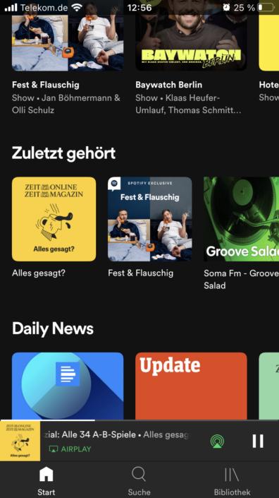 potify App Zuletzt gehört