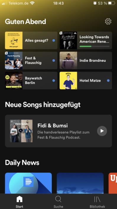 Spotify App Homebildschirm