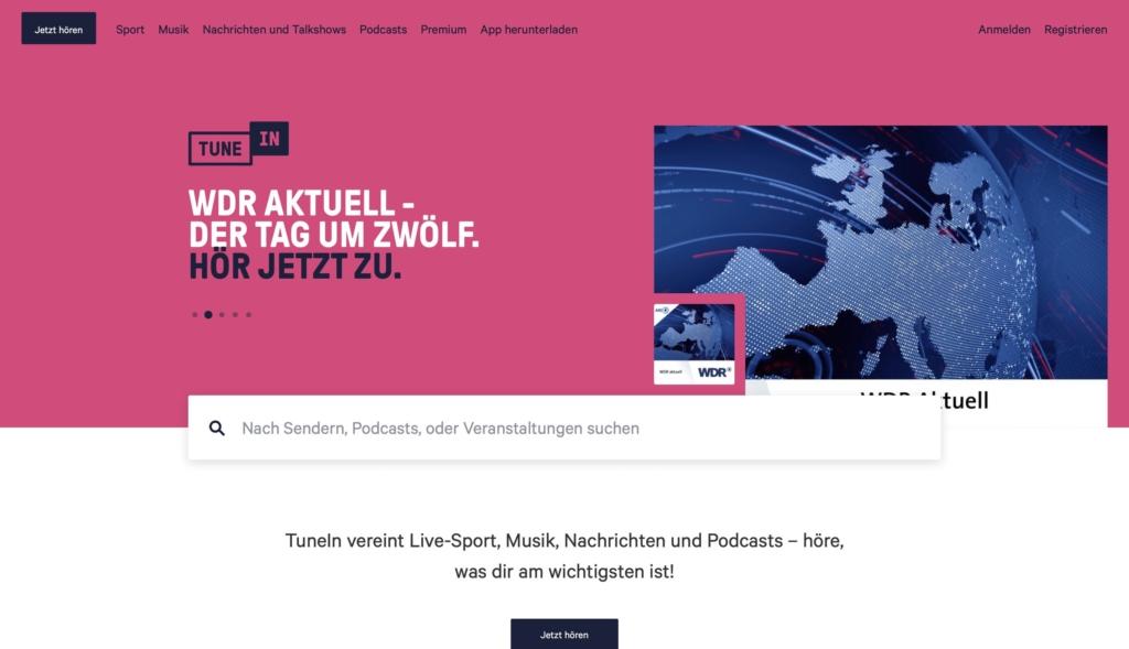 TuneIn Radio Webseite