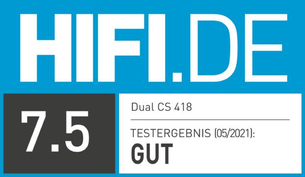 HIFI.DE Testsiegel für Dual CS 418