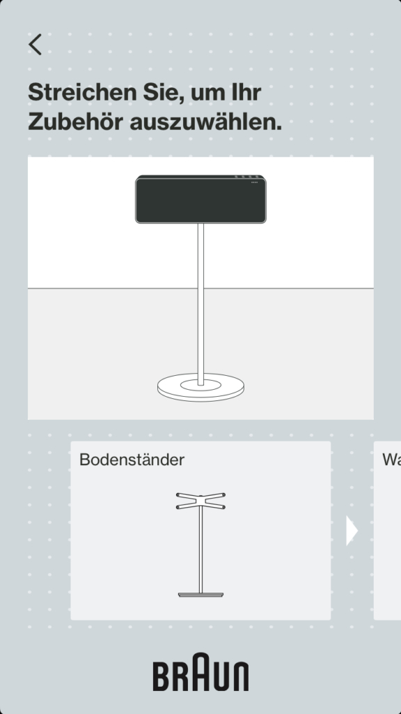 Screenshot Braun App Fuß
