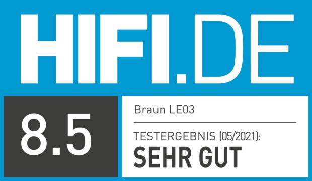 HIFI.DE Testsiegel für Braun LE03