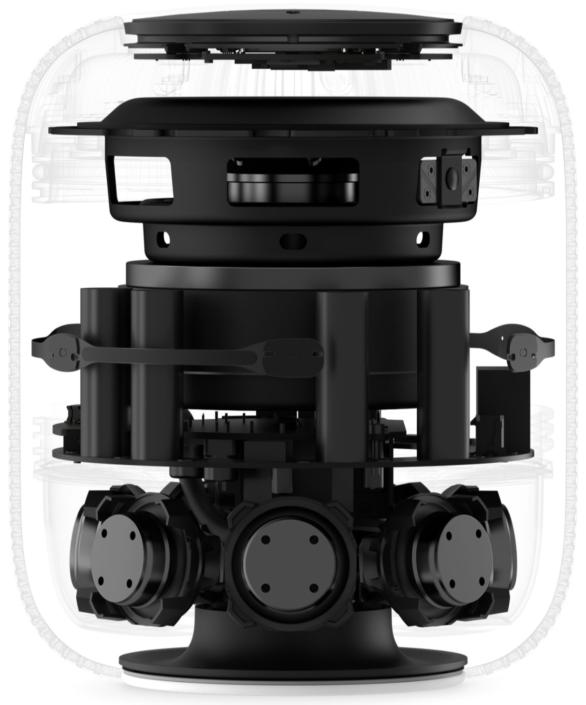 Apple HomePod Aufbau: Innenansicht mit den Lautsprecher-Treibern