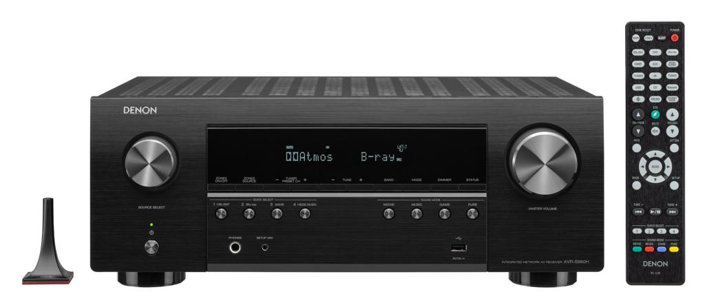 Denon AVR-S960H mit Fernbedienung und Einmess-Mikrofon