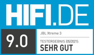 HIFI.DE Testsiegel für JBL Xtreme 3 im Test: Bluetooth-Box mit frischem Design und starkem Klang