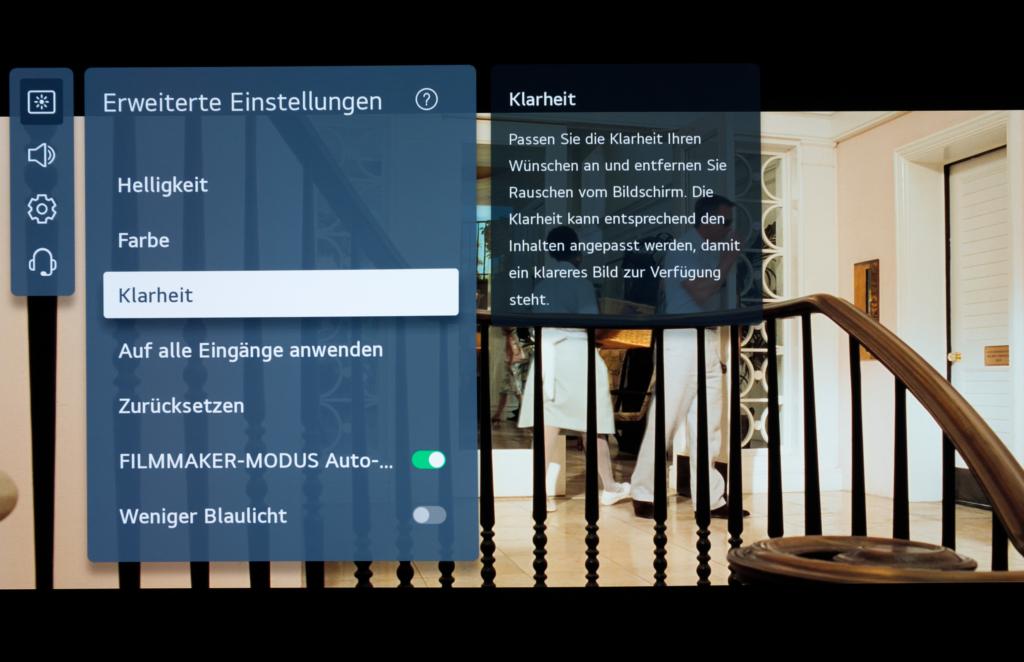 Menue für erweiterte Einstellmöglichkeiten LG OLED 2021
