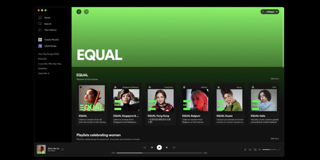 Screenshot des Spotify EQUAL-Hubs