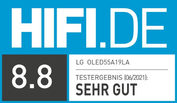 HIFI.DE Testsiegel für LG OLED A1