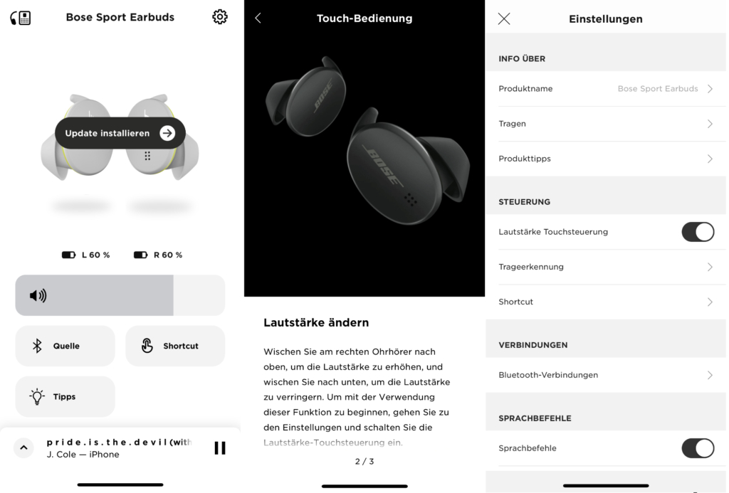 Die App der Bose Sport Earbuds