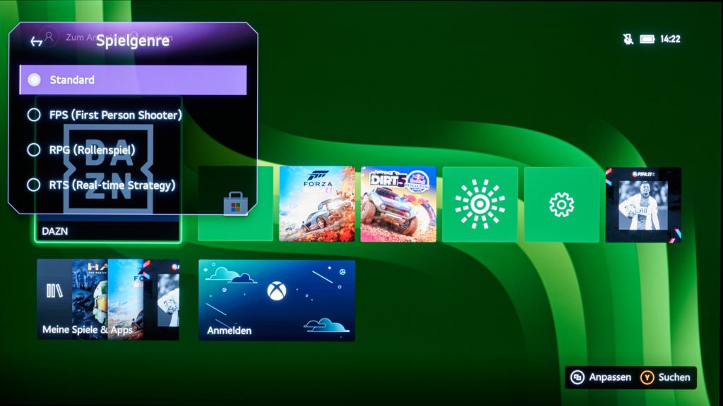 Das Spiele Menü des LG OLED A1