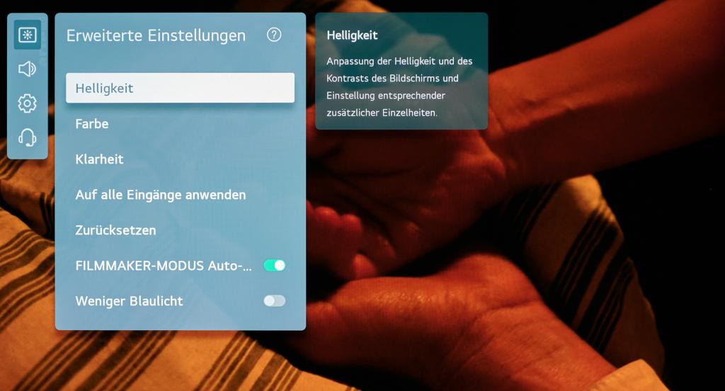LG OLED Einstellungen - Erweitertes Menü
