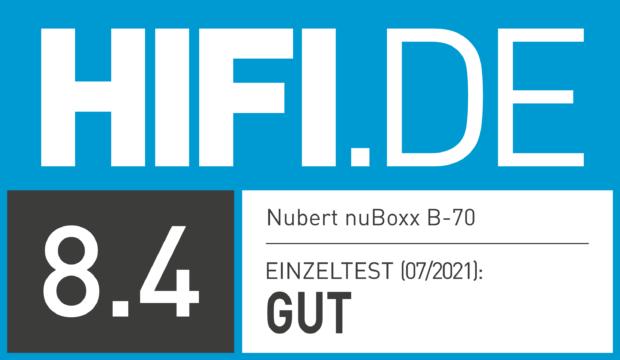 HIFI.DE Testsiegel für Nubert nuBoxx B-70