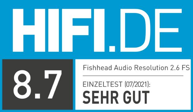 HIFI.DE Testsiegel für Fishhead Audio Resolution 2.6 FS