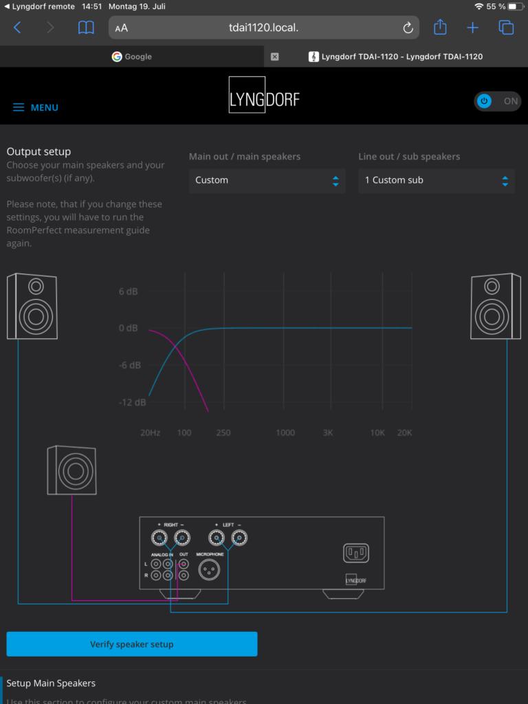 Lyngdorf TDAI-1120 – Lautsprecher-Setup
