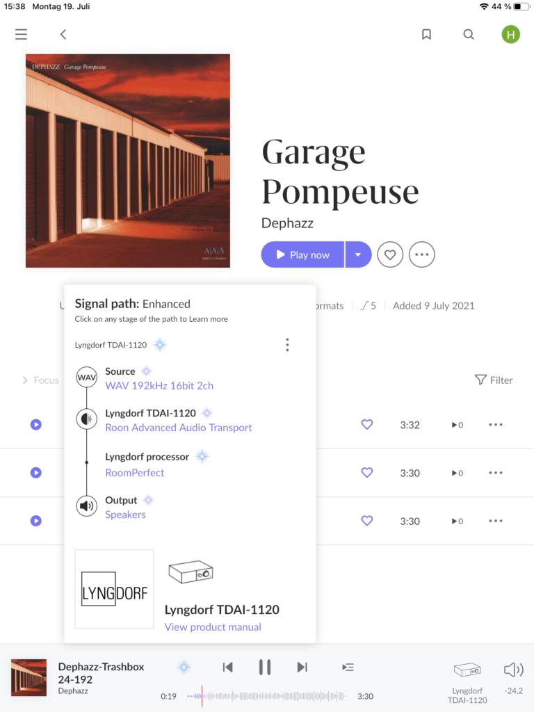 DePhazz - Garage Pompeuse über Roon